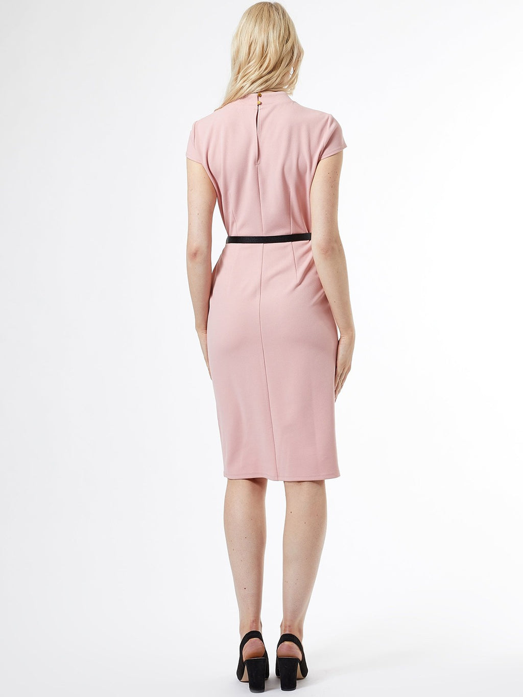 Women Pink Solid Formal Sheath Dress
