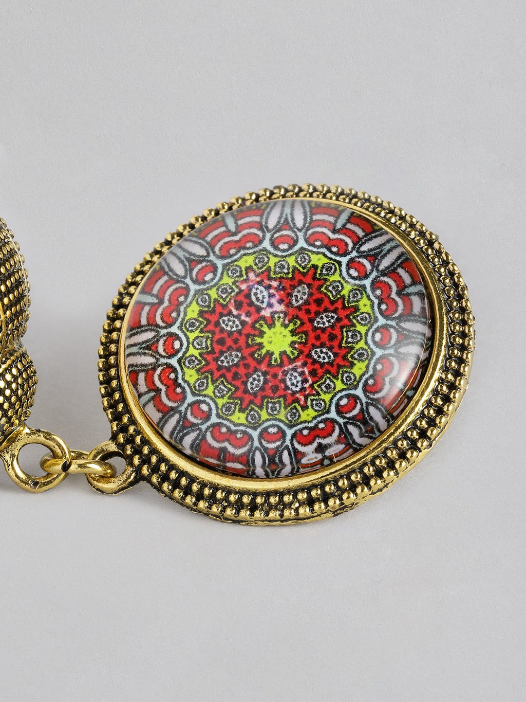 GOLD - TONED DOME SHAPED ANTIQUE JHUMKAS