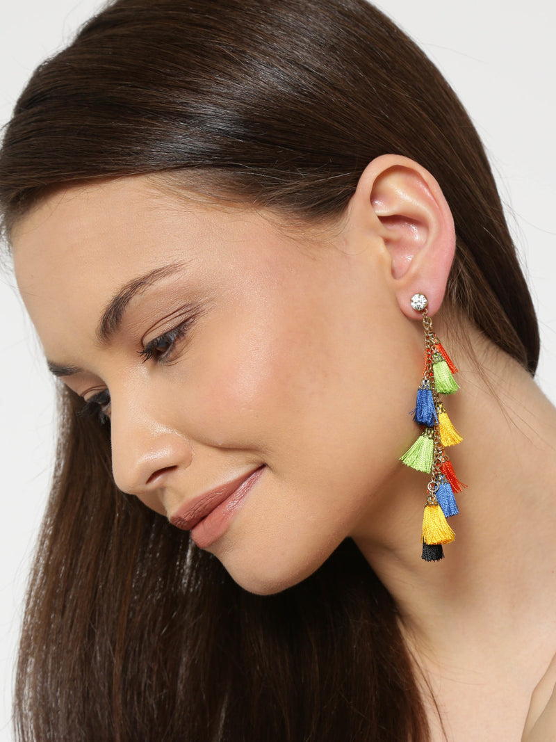 MULTICOLOURED TASSEL DROP EARRINGS