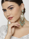SEA GREEN & WHITE FLORAL DROP EARRINGS