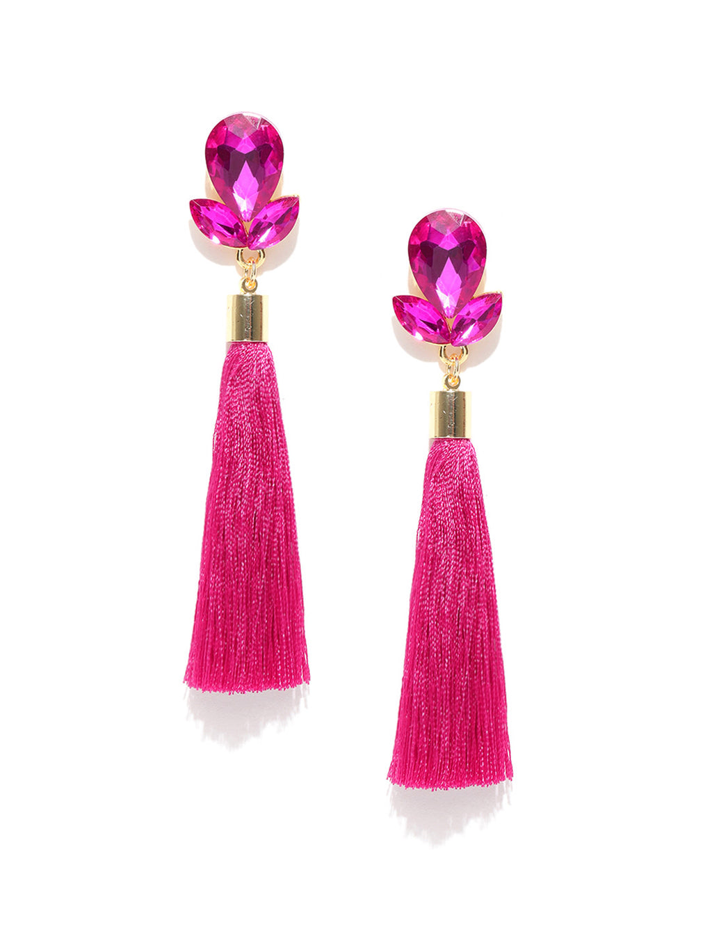 PINK GOLD- PLATED STONE-STUDDED TASSELLED DROP EARRINGS