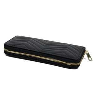 BLACK LARGE QUILTED ZIPPER WALLET