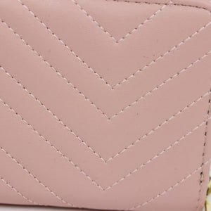 DUSTY PINK LARGE QUILTED ZIPPER WALLET