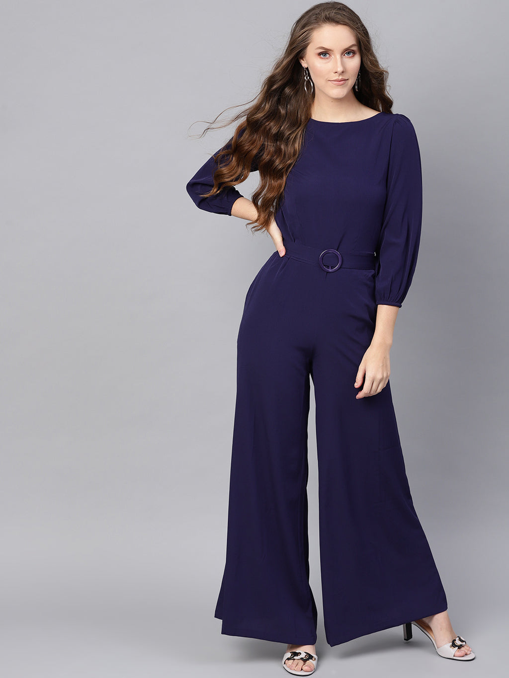 SASSAFRAS -  Women Navy Blue Solid Basic Jumpsuit