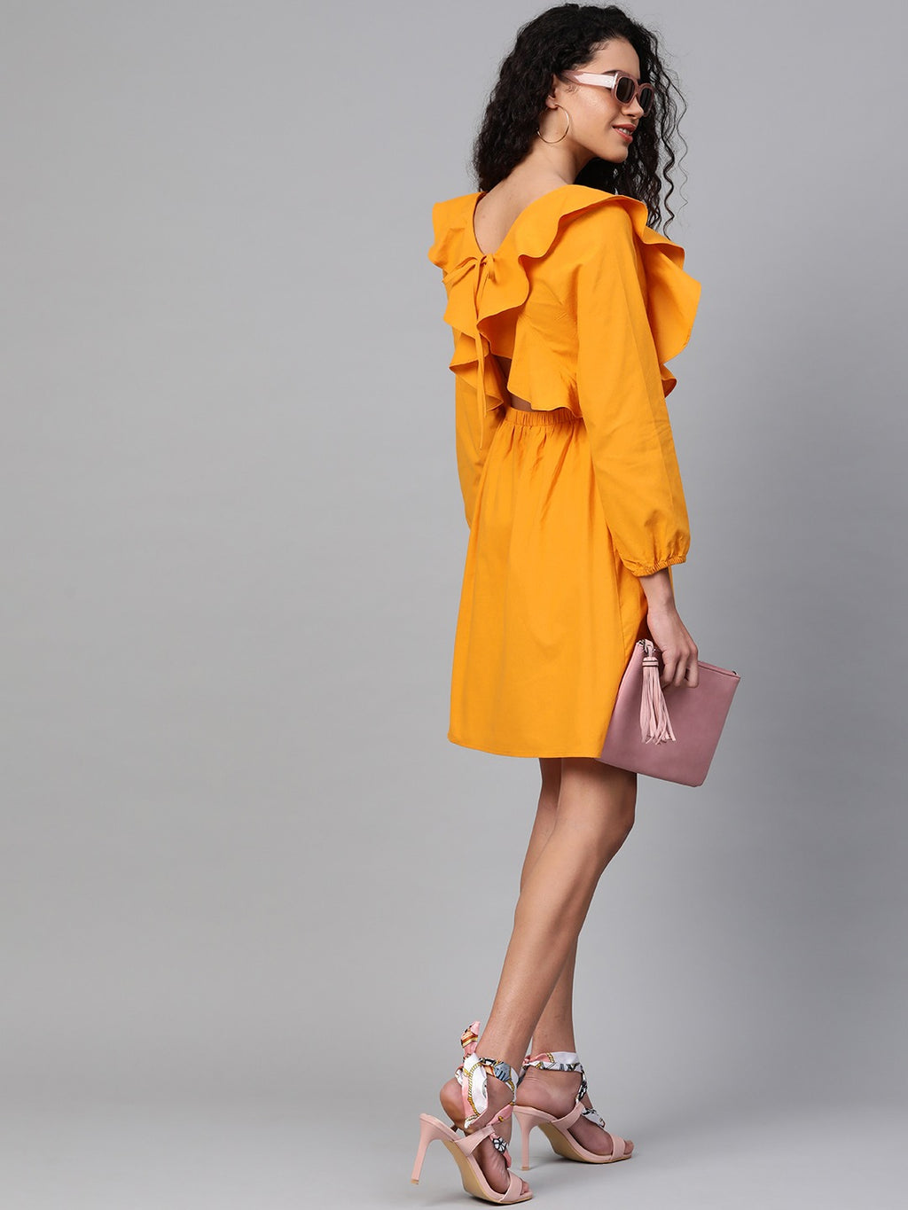 Women Mustard Yellow Solid A-Line Dress
