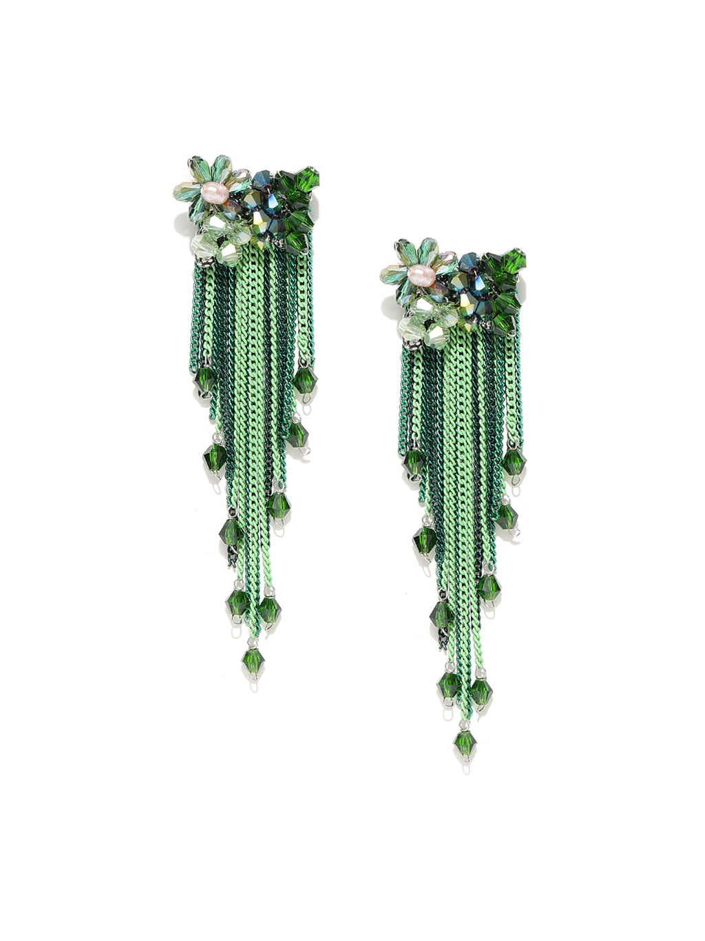GREEN GOLD-PLATED TASSELLED CONTEMPORARY DROP EARRINGS