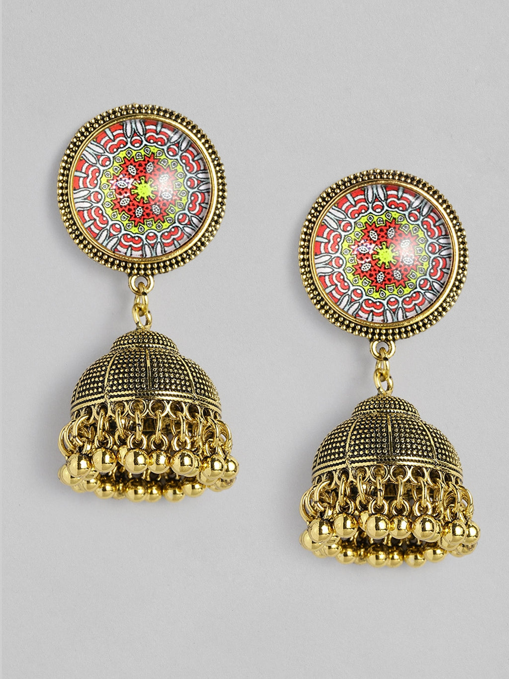 GOLD - TONED DOME SHAPED ANTIQUE JHUMKAS - chique boutique
