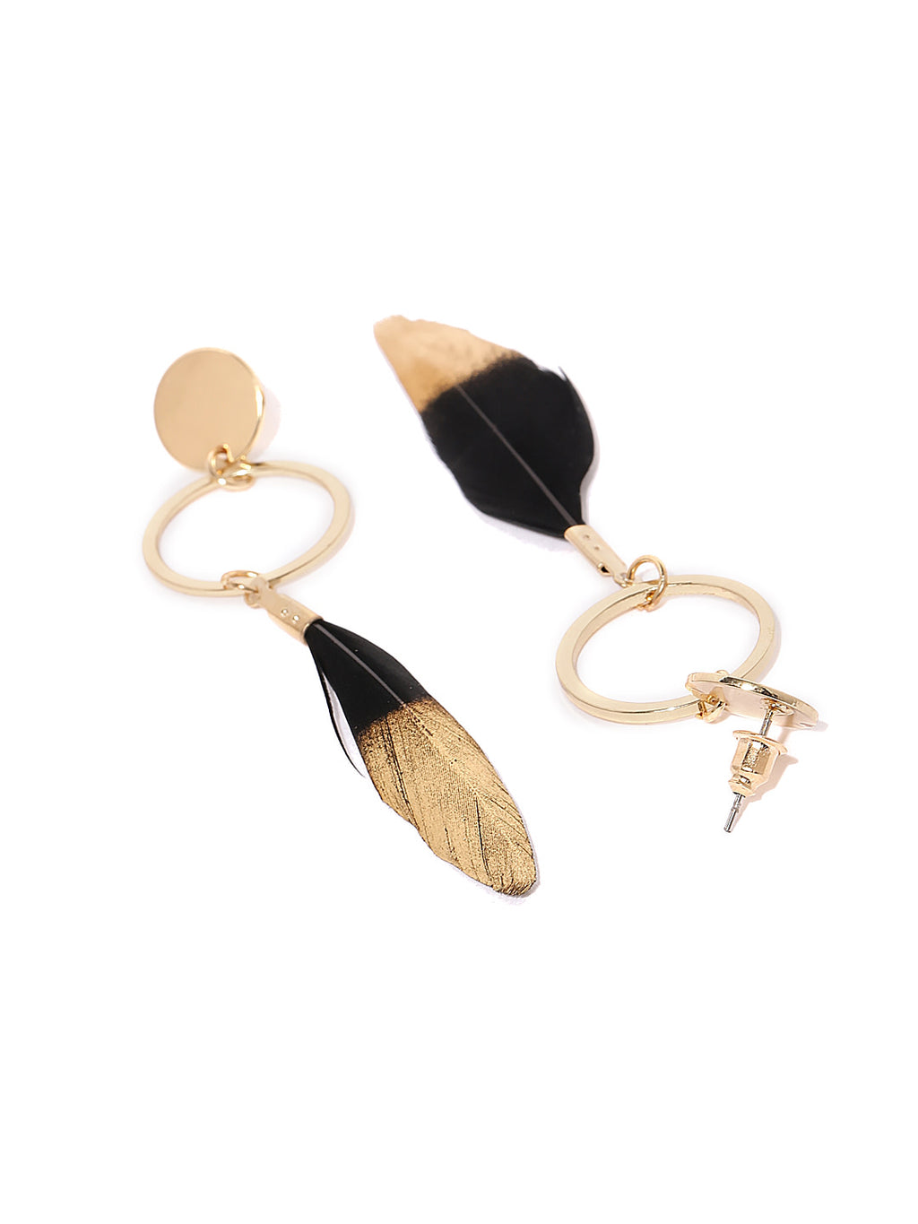BLACK FEATHER DROP EARRINGS - chique boutique
