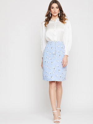 FLORAL PRINTED STRAIGHT SKIRT