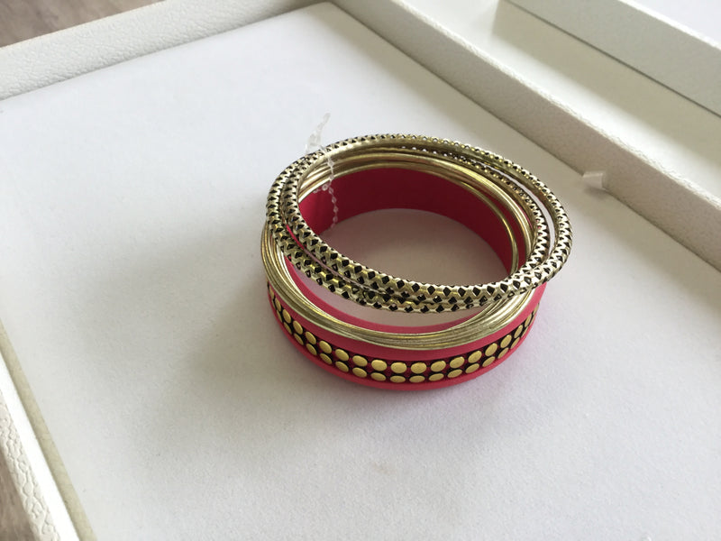 ENAMEL DARK ROSE & GOLD COLOUR MULTIPLE METAL BRACELETS - chique boutique