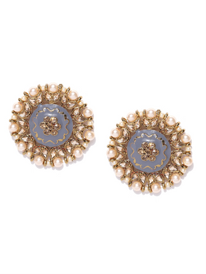 GREY GOLD-PLATED HAND-PAINTED KUNDAN-STUDDED BEADED CIRCULAR DROP EARRINGS