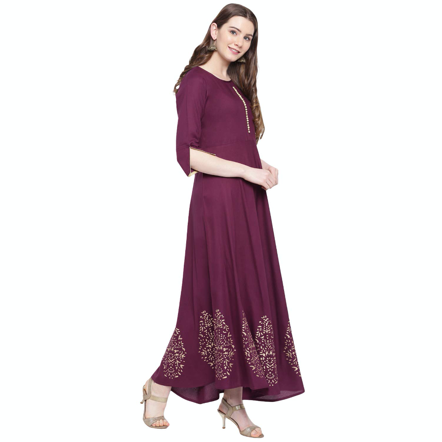 Hand Block Gold Print Rayon Kurta Dress (wine)