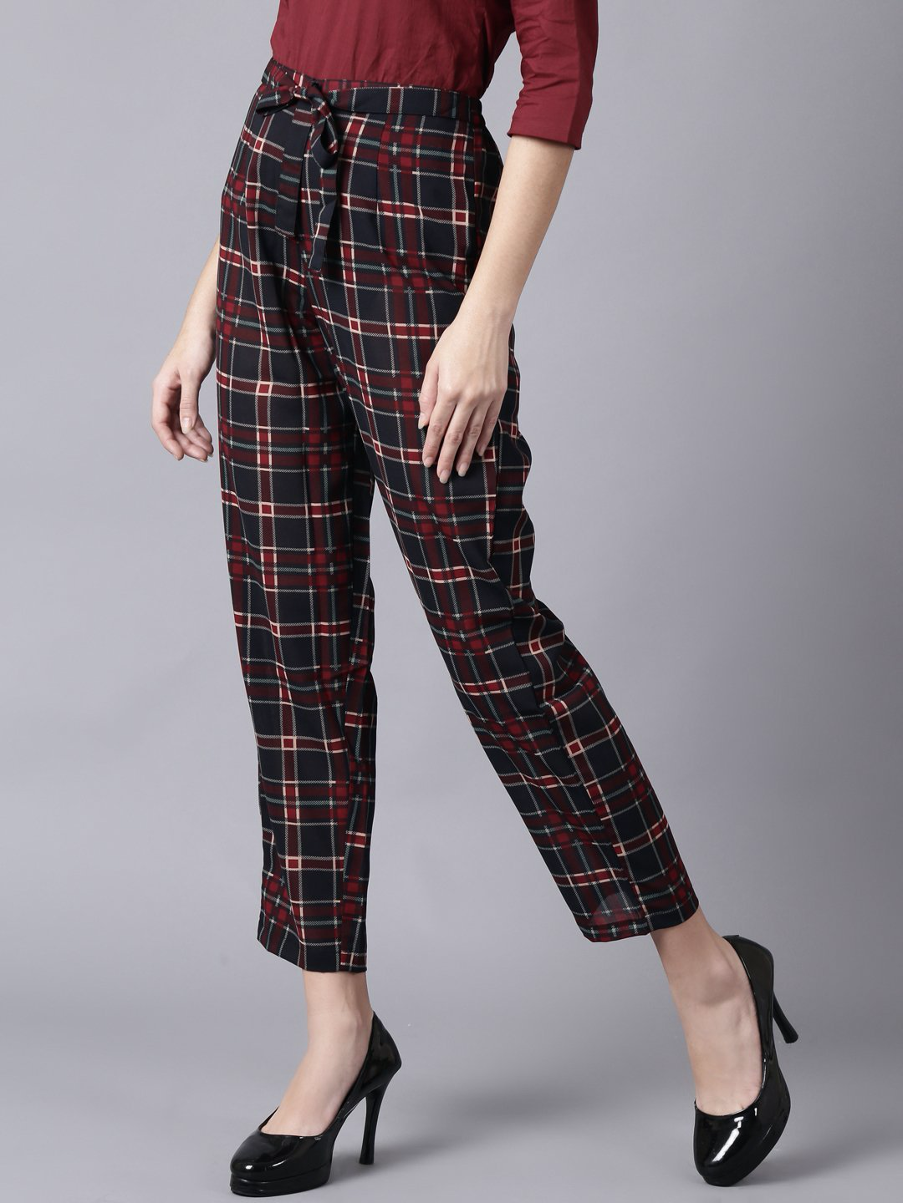 MULTI CHECKED CASUAL GEORGETTE TROUSER