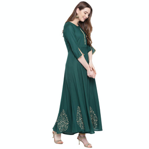 Hand Block Gold Print Rayon Kurta Dress (EMERALD)