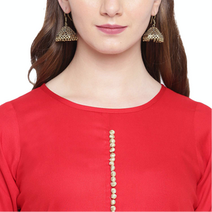 Hand Block Gold Print Rayon Kurta Dress (Red)