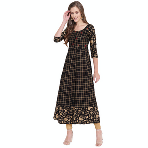 Checkered Rayon Flared Kurta (BLACK)