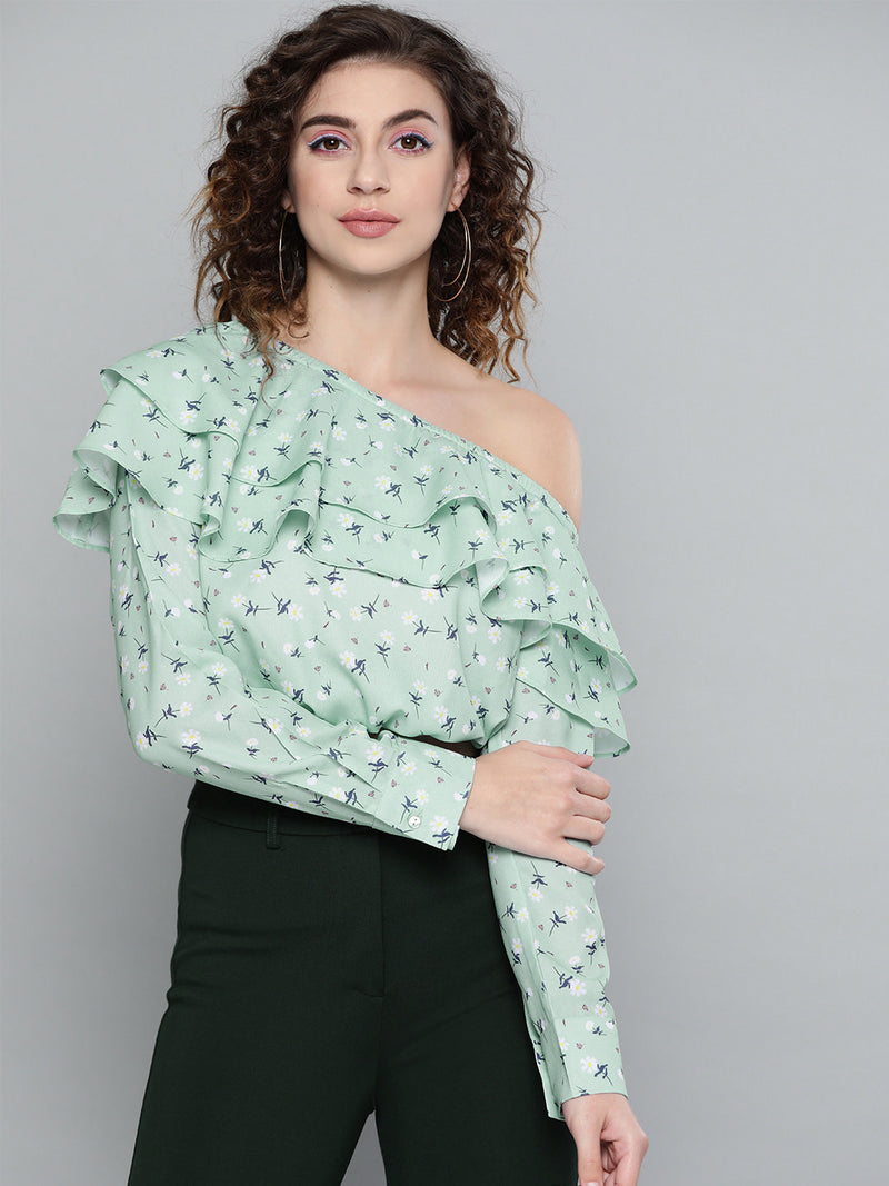 PRINTED ONE-SHOULDER CROP BLOUSON TOP