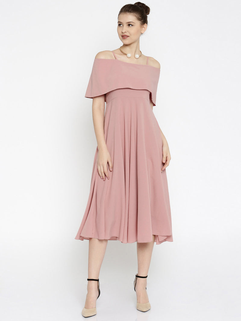 FIT & FLARE OFF-SHOULDER MIDI DRESS