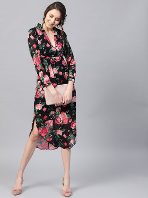 Black Floral Belted Maxi Dress