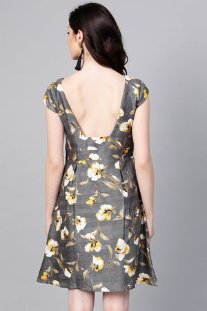 Grey Floral Silk A-Line Dress