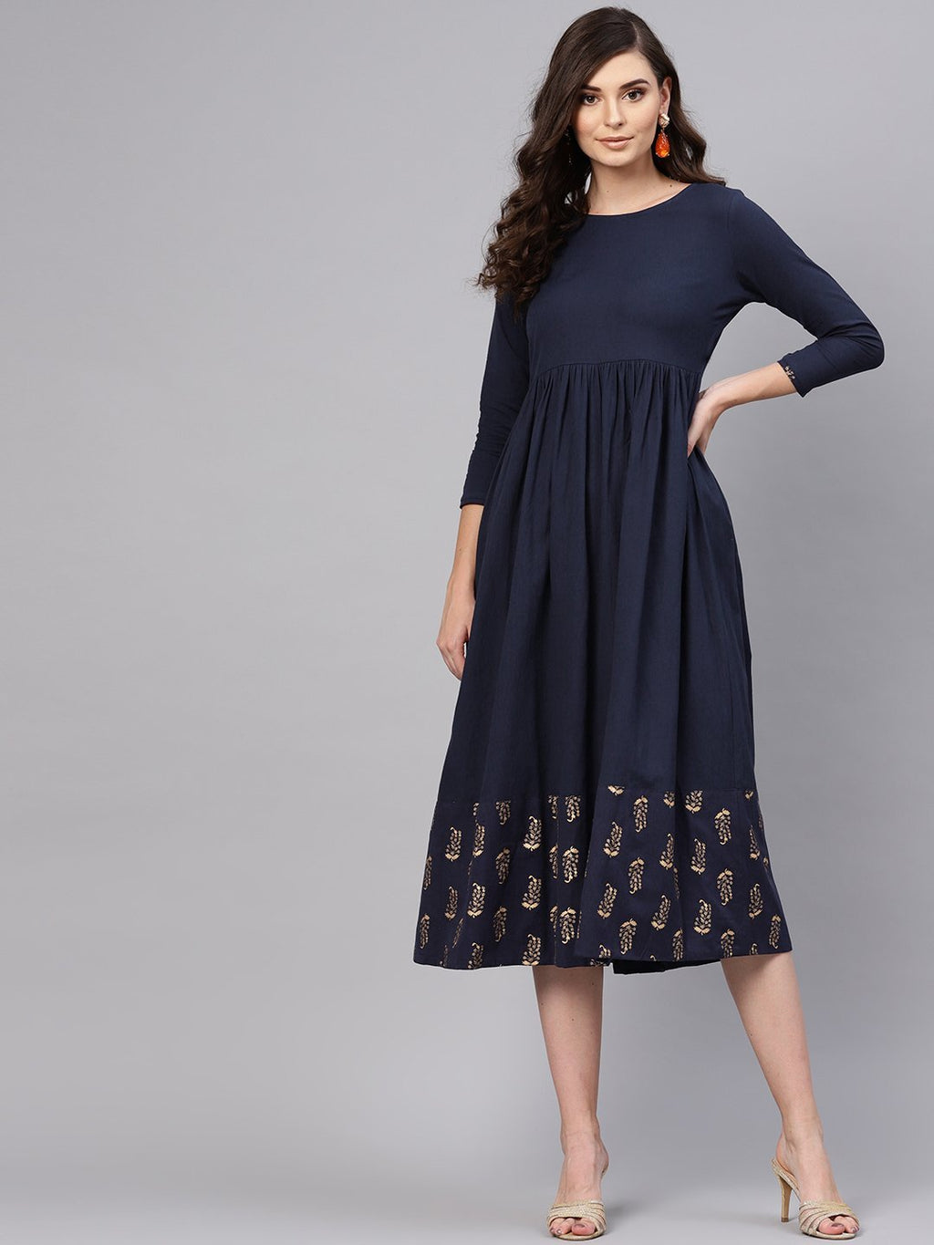 Navy Foil Printed Gathered Dress