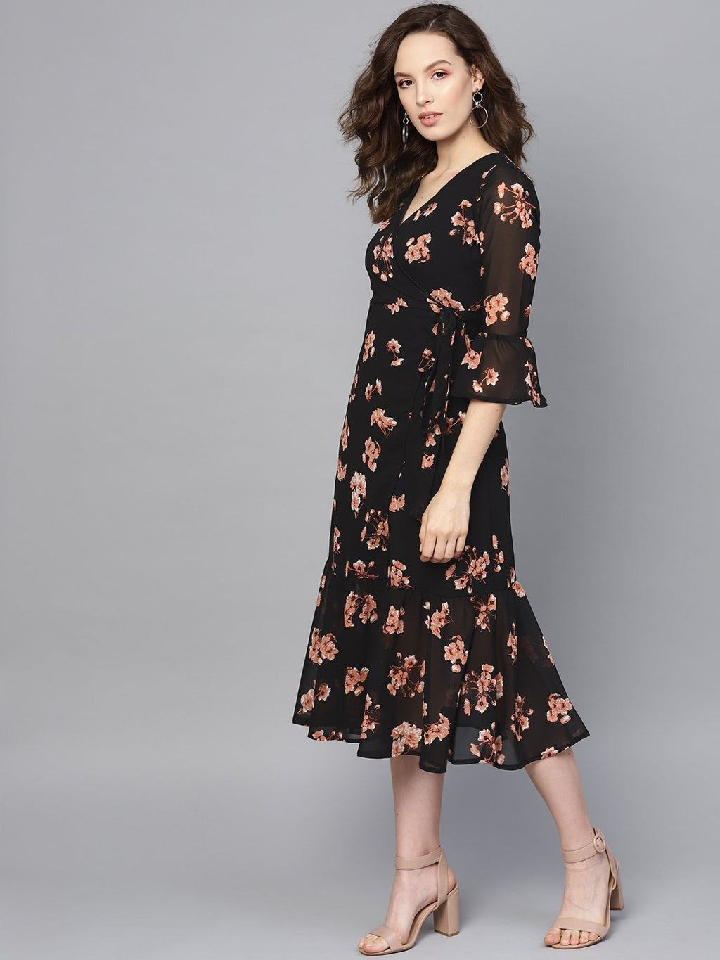 Black Floral Wrap Tie Dress