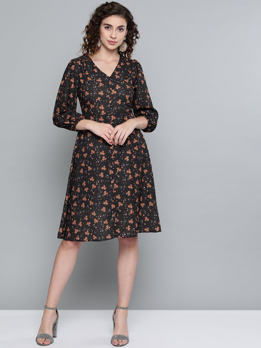 Black Ditsy Floral Buttoned Midi Dress