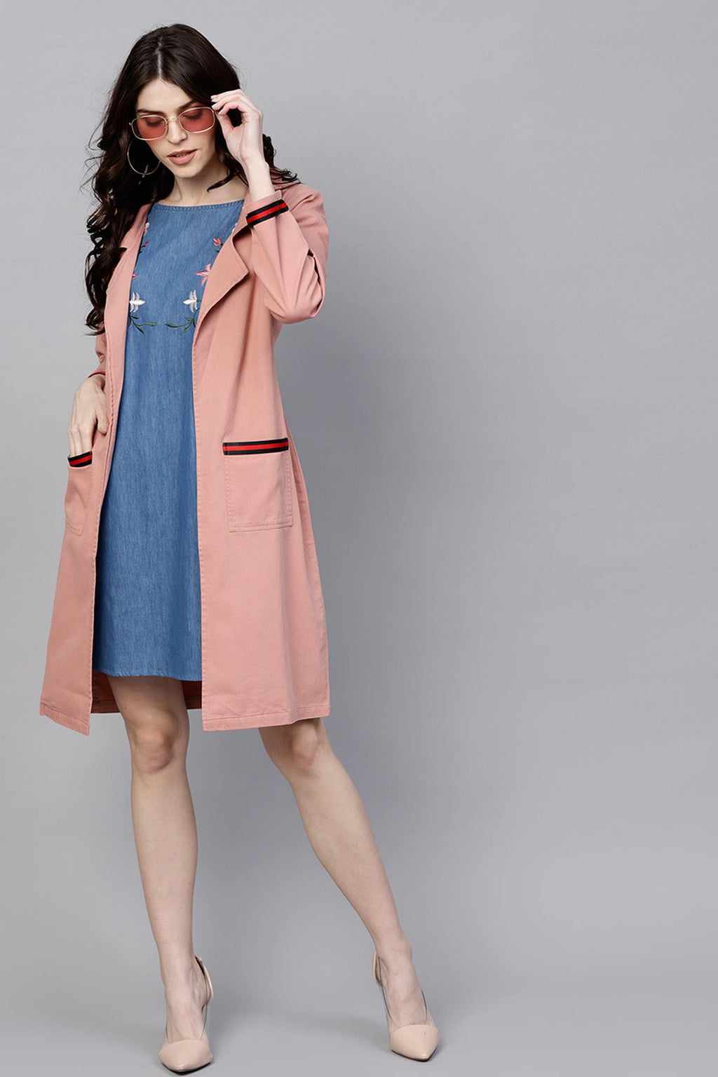PINK DENIM LONG SHRUG WITH POCKETS - chique boutique