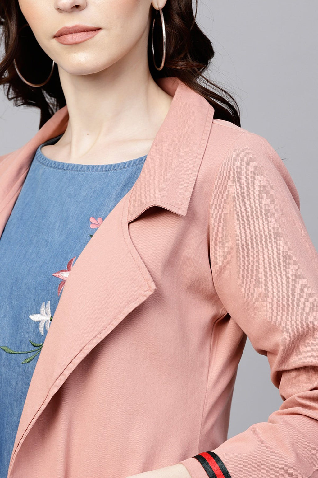 Pink Denim Long Shrug With Pockets