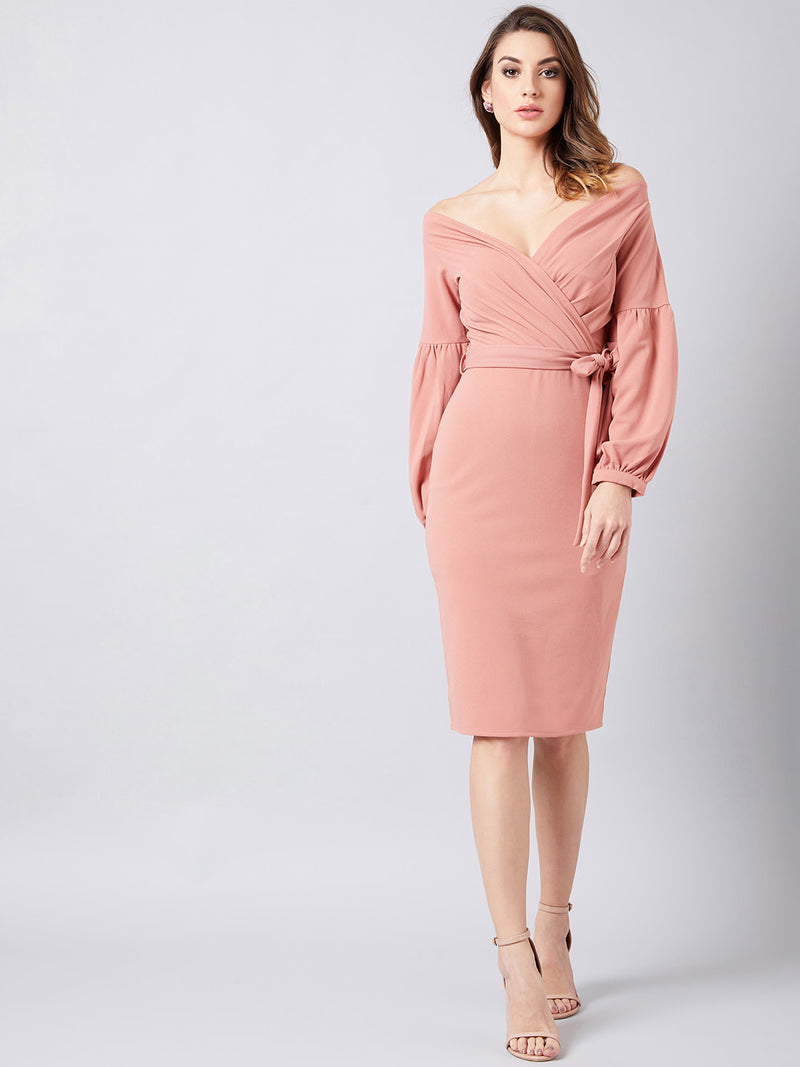 SOLID WRAP DRESS - chique boutique