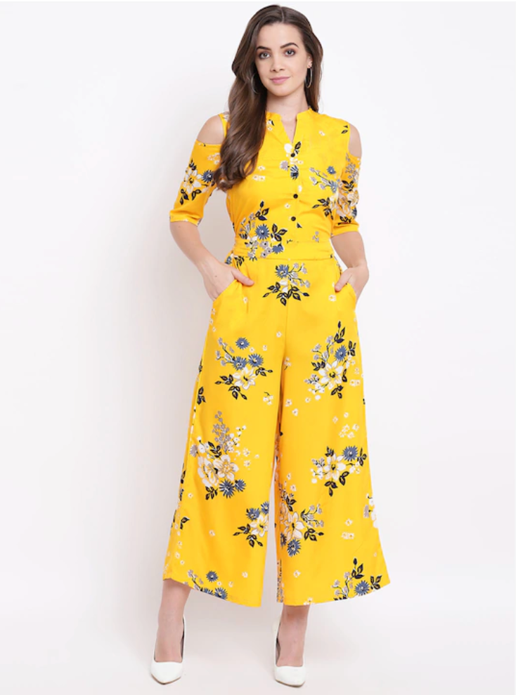 Mustard Yellow & Blue Printed Cold-Shoulder Basic Jumpsuit