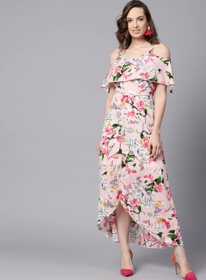 Pink Printed Layered High-Low Maxi Dress