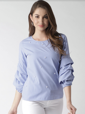STRIPED PEARL TOP - chique boutique
