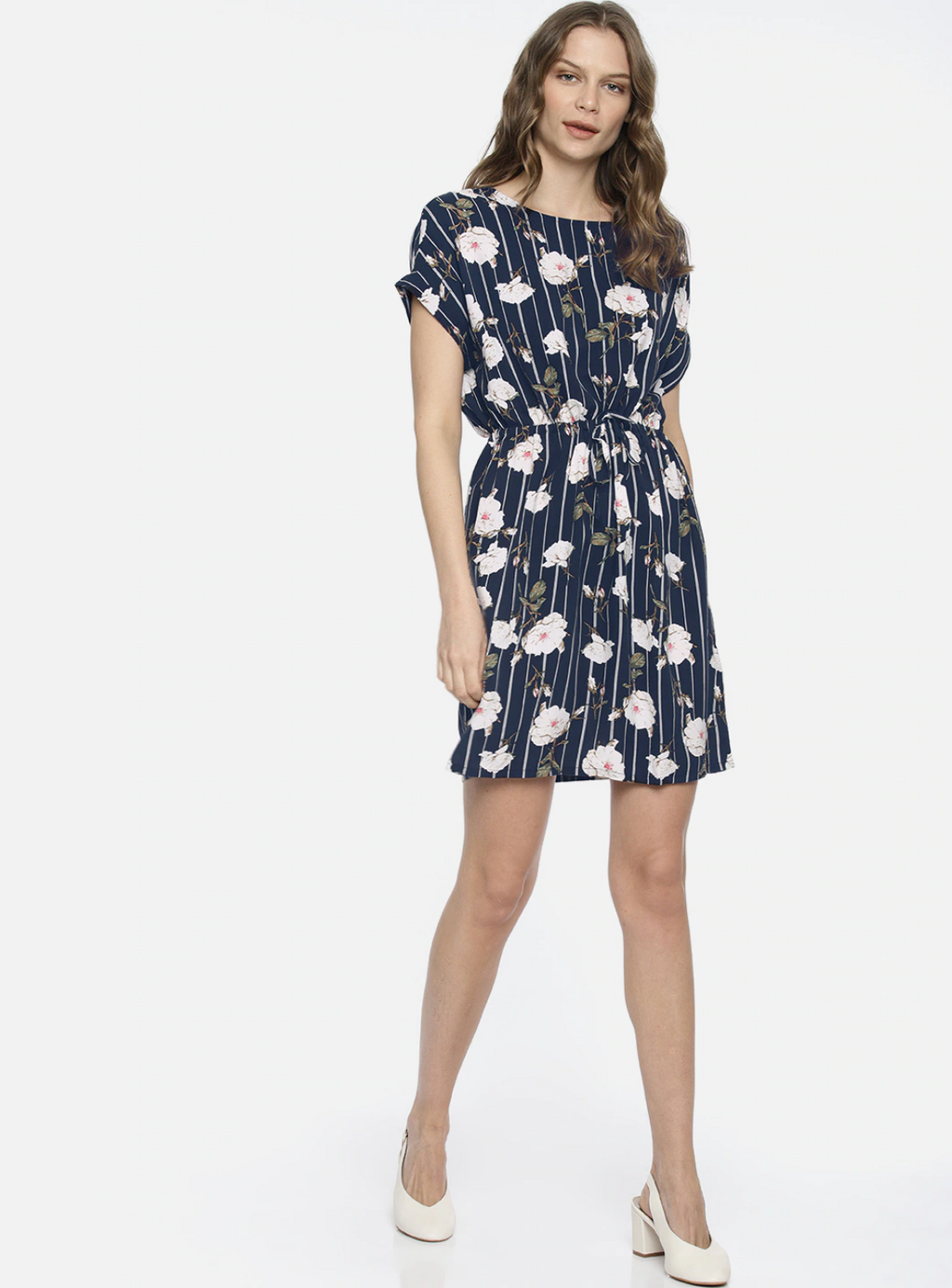 NAVY FLORAL CINCHED WAIST DRESS