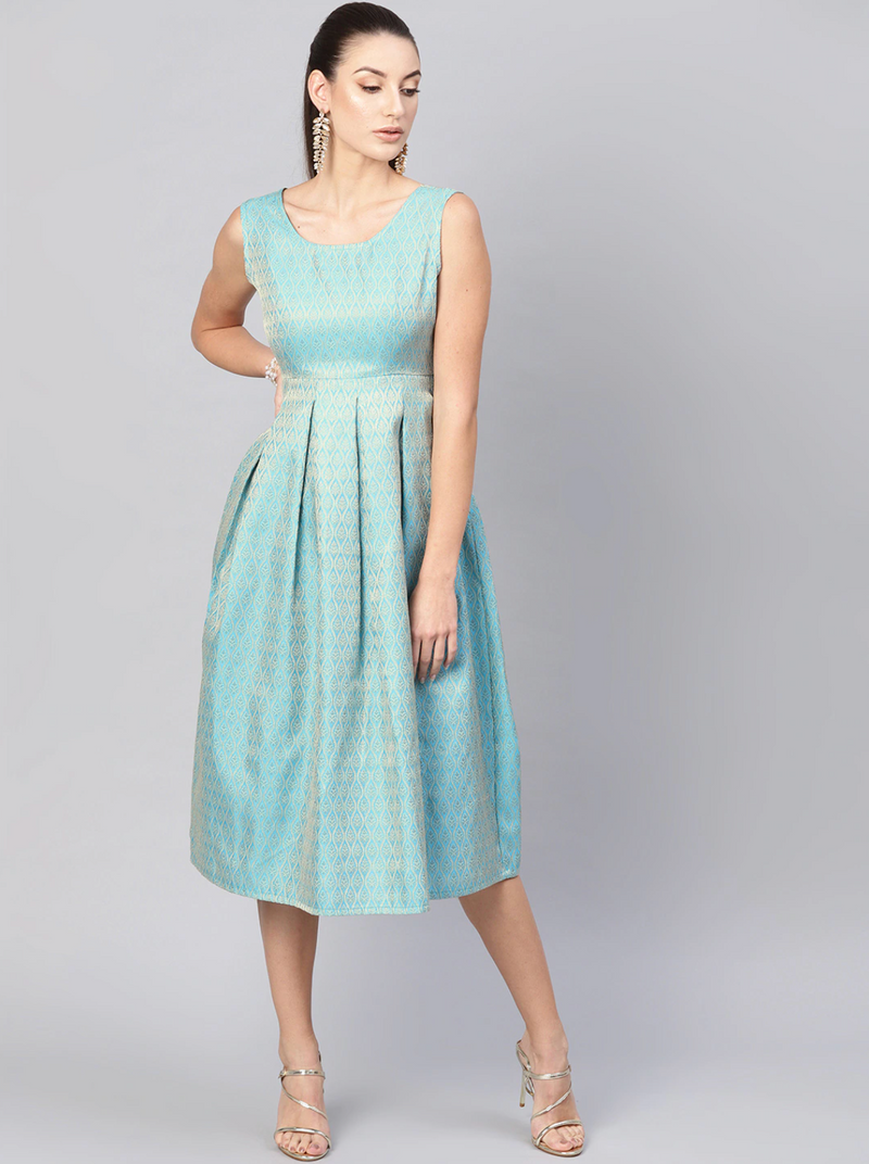 BLUE JACQUARD FIT & FLARE DRESS - chique boutique