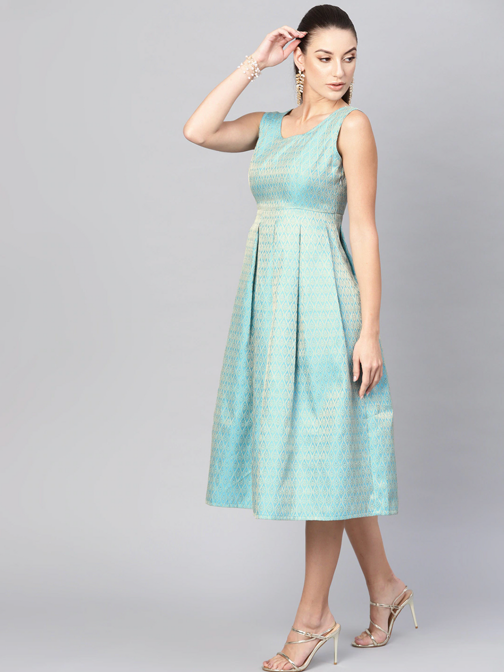 BLUE JACQUARD FIT & FLARE DRESS