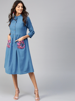 BLUE SOLID A-LINE DRESS - chique boutique