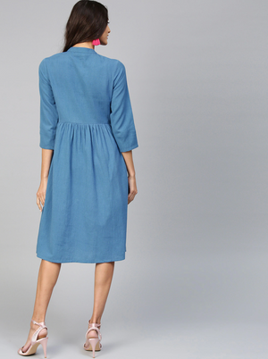 BLUE SOLID A-LINE DRESS
