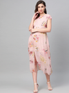 Women Peach-Coloured & Pink Printed A-Line Dress