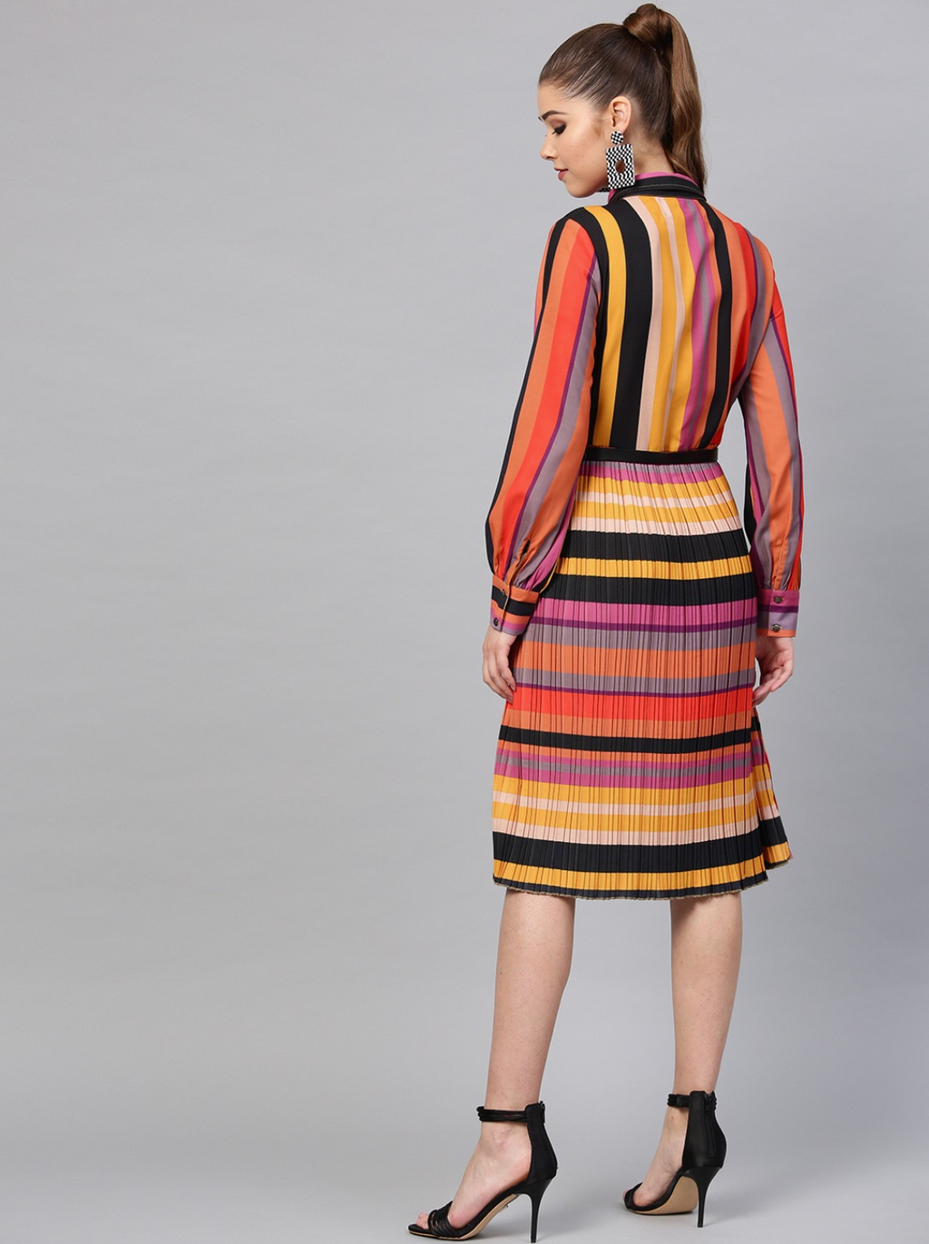MULTICOLOURED STRIPED ACCORDION PLEAT SHIRT DRESS