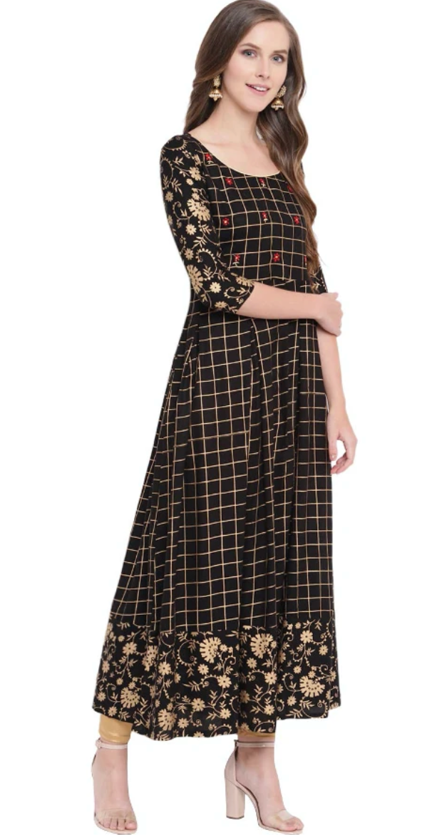 BLACK CHECKERED KURTA