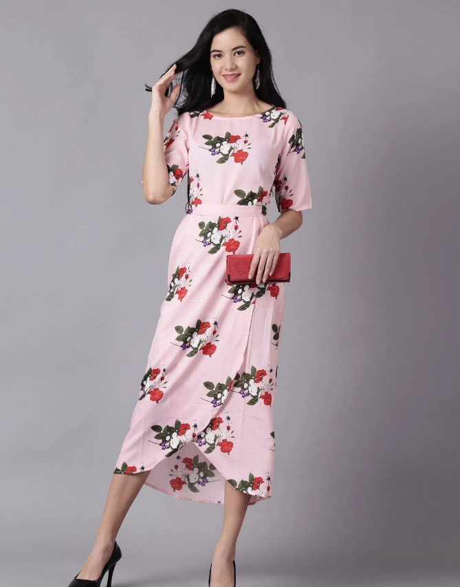the pink floral printed A-Line dress