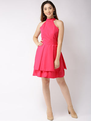 SOLID FIT & FLARE DRESS - chique boutique