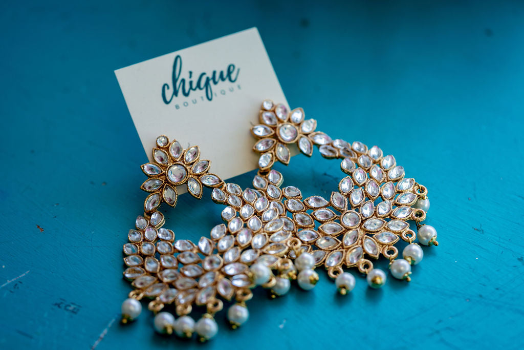 KUNDAN AND PEARL STRING EARRINGS - chique boutique