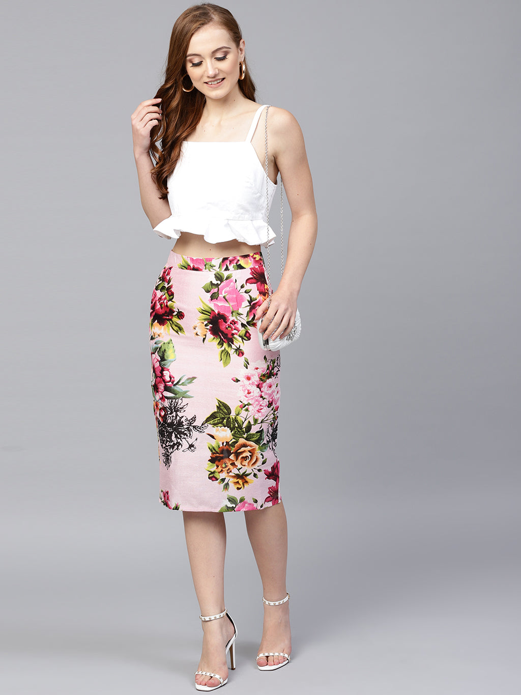 PINK & GREEN PRINTED PENCIL SKIRT