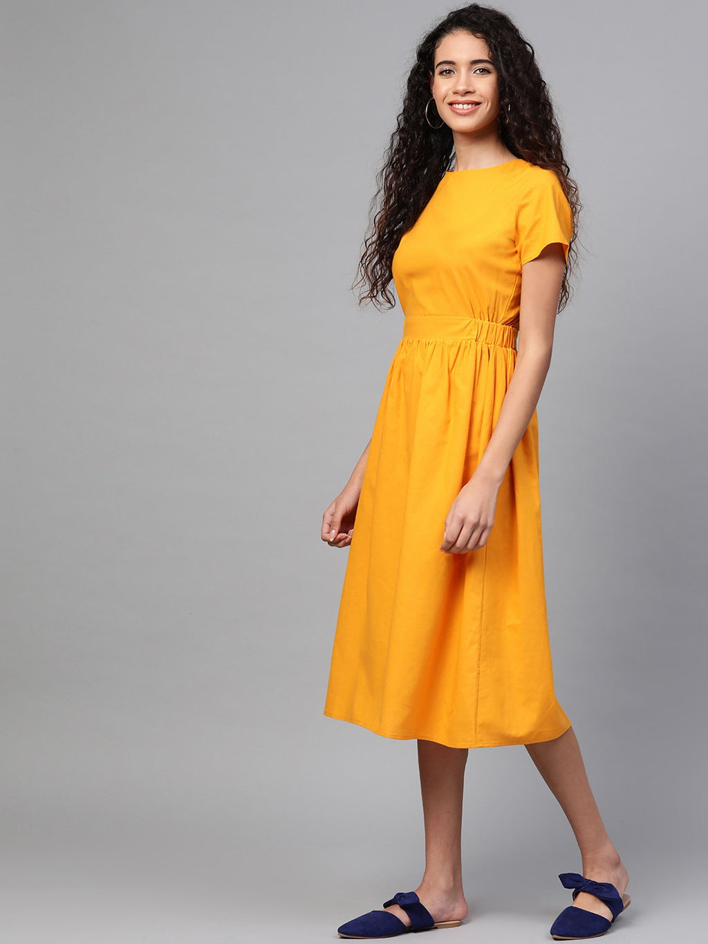 Women Mustard Yellow Solid Styled Back A-Line Dress