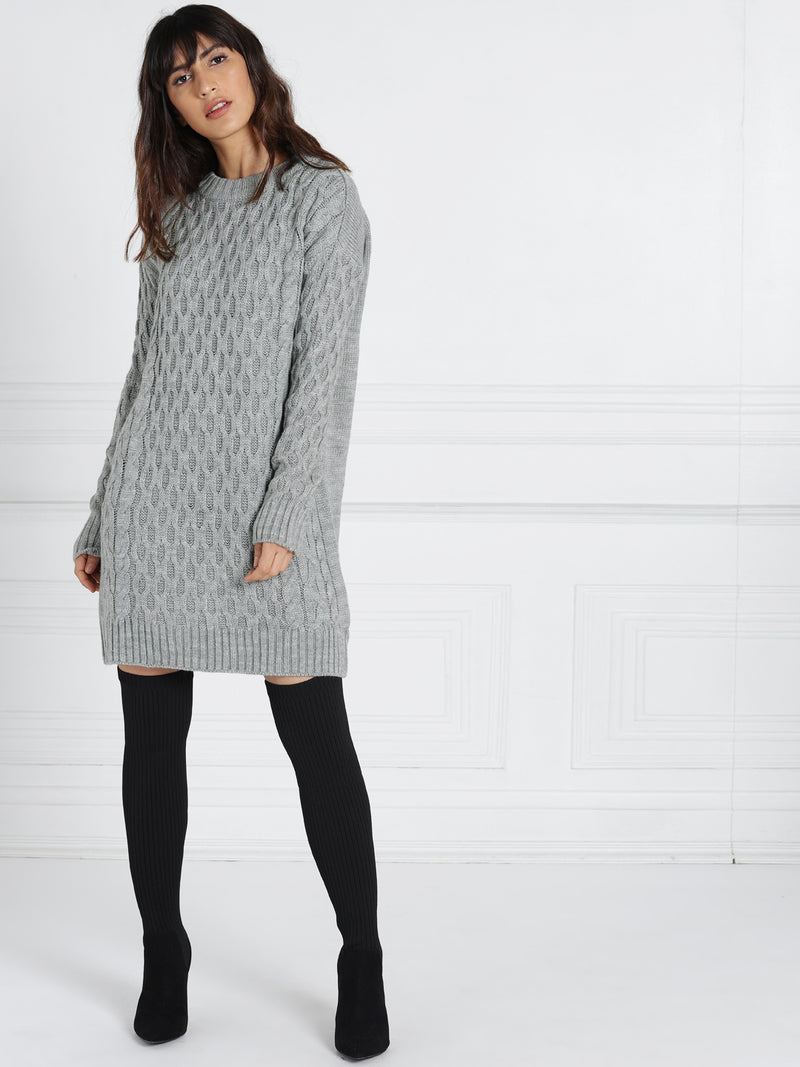 GREY SELF DESIGN SWEATER SHEATH DRESS