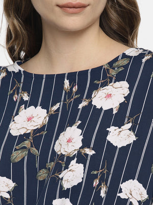 NAVY FLORAL CINCHED WAIST DRESS - chique boutique