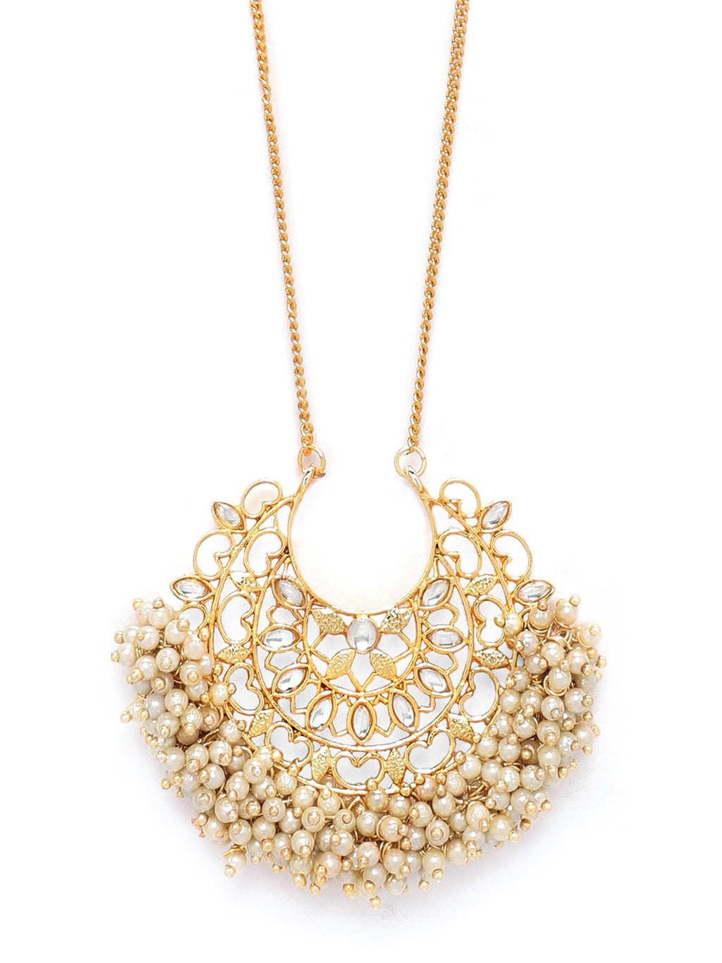 GOLD PLATED HAND CRAFTED STUDDED PEARL EMBELLISHED NECKLACE