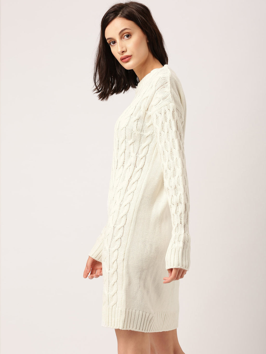 ALL ABOUT YOU - Women Off-White Self Design Longline Sweater Dress